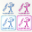Childish happy valentines day icon with heart and flowers - Foto Stock