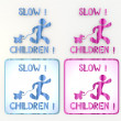 Coltish slow children with toy icon in pink and blue - Foto Stock