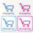 Blue and pink  nice shopping icon lables - Foto Stock