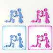 Pink and blue  proposal of marriage icon - Foto Stock