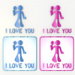 Cute flower  I love you icon in pink and blue - Stock Photo