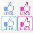 Comic style childish like icon in pink and blue - Stock Photo