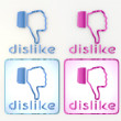 3d graphic coltish dislike icon in pink and blue - Stock Photo
