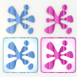 Blue and pink friendly splotch icon lables — Stock Photo