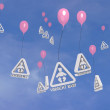 Stock Photo: Baby on board balloons flying in sky
