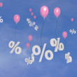 Flying percentage  balloons in the sky. — Stock Photo