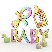 Icono 3d de alimentos ilustrativo lindo bebé feliz — Foto de Stock