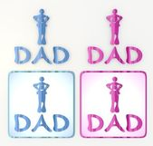 The new funny dad icon in pink and blue — Stock Photo