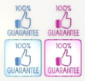 Blue and pink 100 percent guarantee icon — Stock Photo