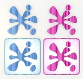 Blue and pink friendly splotch icon lables — Стоковое фото