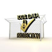 Isolated metallic barbed cent percent data protection icon — Stock Photo