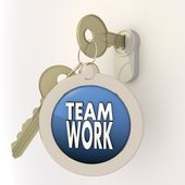 Locked unlocked Teamwork icon on key pendant — Stock Photo