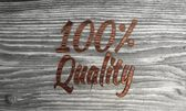 Wooden 100 percentage quality symbol in a stylish background — Stock Photo