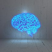 Illuminated bluelight brain in a stylish background — Stock Photo