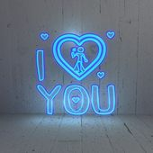 Illuminated I love you symbol in a modern background — Stock Photo