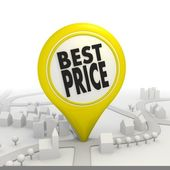 Best price icon inside a yellow map pointer — Stock Photo