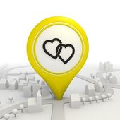 Two hearts pictorgram inside a yellow map pointer — Stock Photo