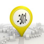 30 percentage discount icon inside a yellow map pointer — Stock Photo
