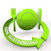 100 percentage sustainable ecological restaurant Illustration in — Stock Photo