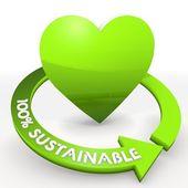 100 percentage sustainable eco green heart Illustration — Stock Photo