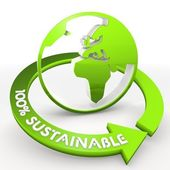 100 percentage sustainable eco world Illustration in a white bac — Stock Photo
