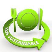 100 percentage sustainable ecological restaurant Illustration in — Stock Photo