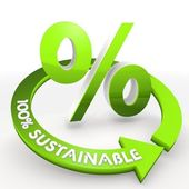100 percentage sustainable percentage symbol in a white backgro — Stock Photo
