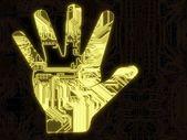 Rozjarzony symbol ręki uwagi na chip komputer — Zdjęcie stockowe