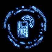 Svítící modrá kobaltová modř telefon symbol na počítačovém čipu — Stock fotografie