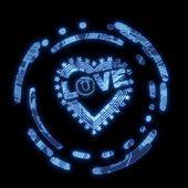 Illuminated blue computer heart with stars symbol — Stock Photo