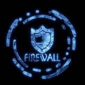 Illuminated blue flare firewall symbol on a computer chip — Stockfoto