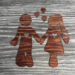 Noble Partnership symbol in a wooden background — Foto de Stock