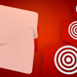 Sight Disk icon in red background with three nice icons — Stock Photo