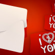 I love you icon in red background with three nice icons — Stock Photo