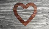 Zrównoważonego serce symbol tło drewniane — Zdjęcie stockowe