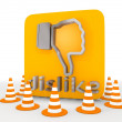 Stock Photo: 3d render of metallic dislike icon