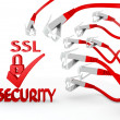 SSL symbol attacked by a cyber network - Stock Photo