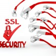 Stock Photo: SSL symbol attacked by cyber network
