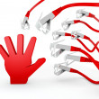 Stock Photo: 3d render of threatened hand icon attacked by cyber network