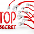Stock Photo: Top secret icon attacked by cyber network