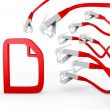 Stock Photo: Document icon attacked by cyber network