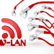 Royalty-Free Stock Photo: W-lan symbol attacked by a cyber network
