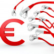 Stock Photo: Euro symbol attacked by cyber network