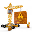 3d render of a tiny construction site symbol with a crane - Stock Photo