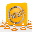 Stock Photo: 3d graphic of metallic new icon
