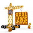 3d graphic of a tiny XL symbol with a crane — Stock Photo