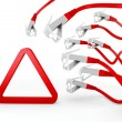 Royalty-Free Stock Photo: Triangle symbol attacked by a cyber network