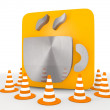 Stock Photo: 3d render of metallic coffee icon