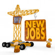3d graphic of a cute new jobs symbol with a crane — Stock Photo
