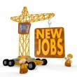 3d graphic of a cute new jobs symbol with a crane - Stock Photo